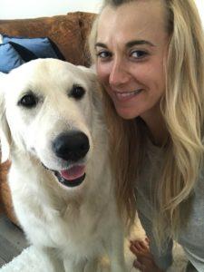 ESA dog, Raspberry, with Kasia