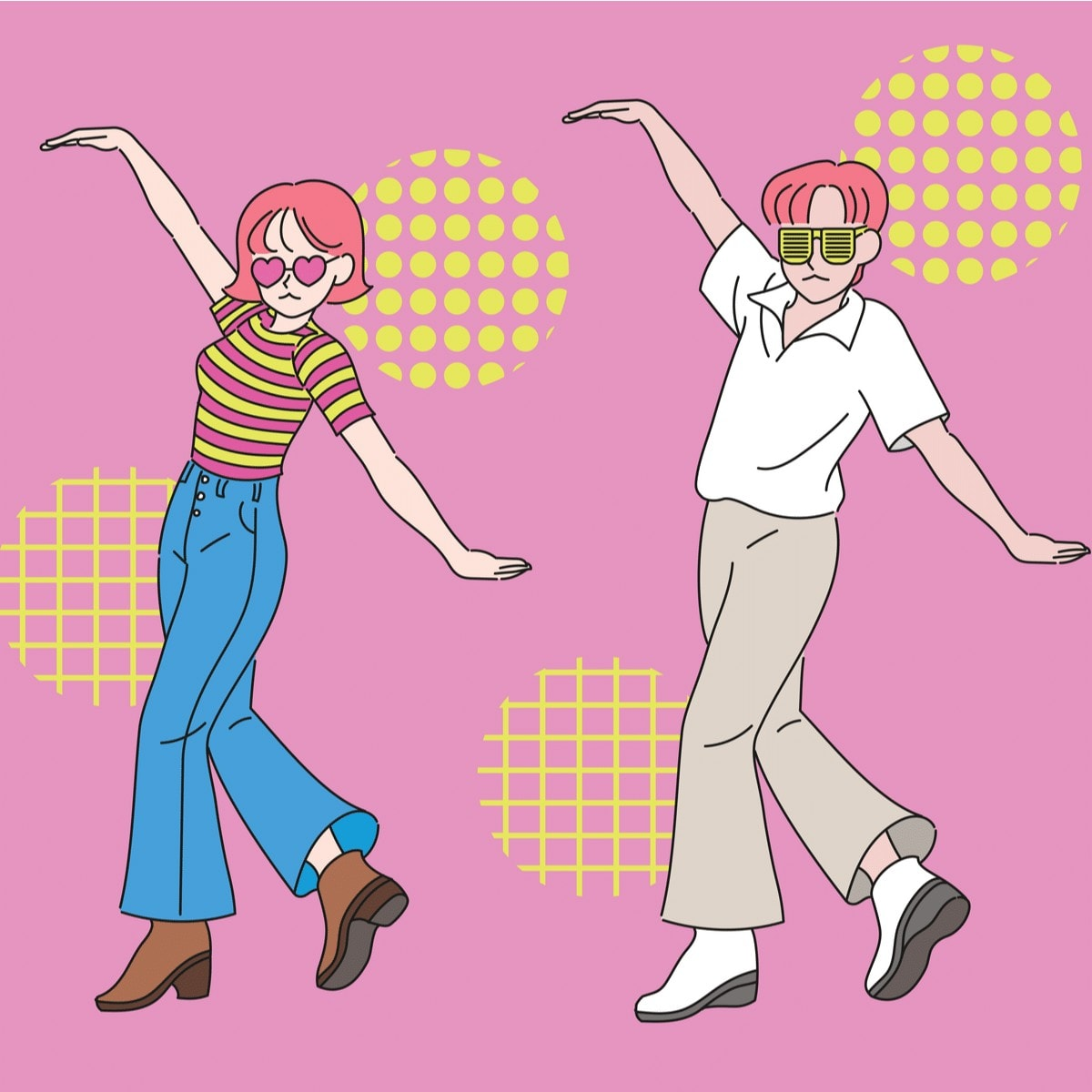 Retro color and funny dancing couple.