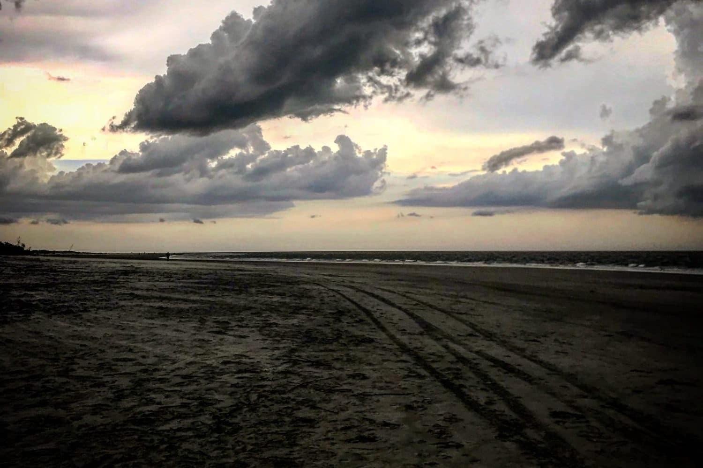 Dark cloudy day on beach