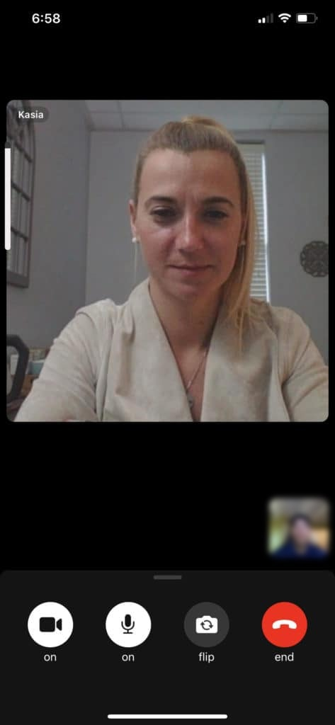 Therapist Kasia in Telehealth session with Client