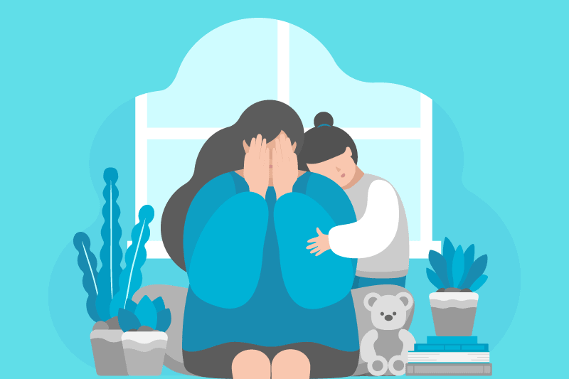 A child comforts her mother as she grieves the loss of someone close