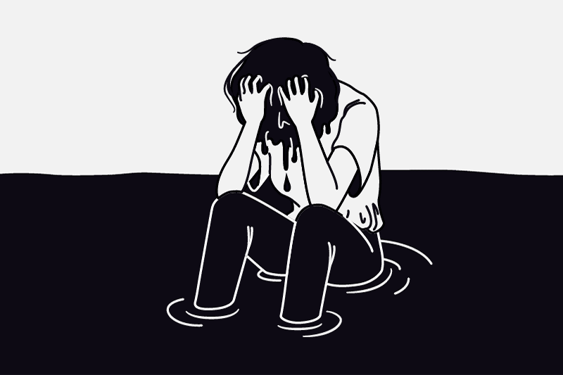 Depressed young boy feeling empty, numb, and alone.