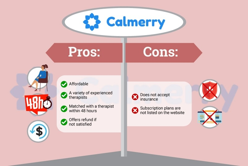 Picture of Calmerry Pros and Cons Bullet Points